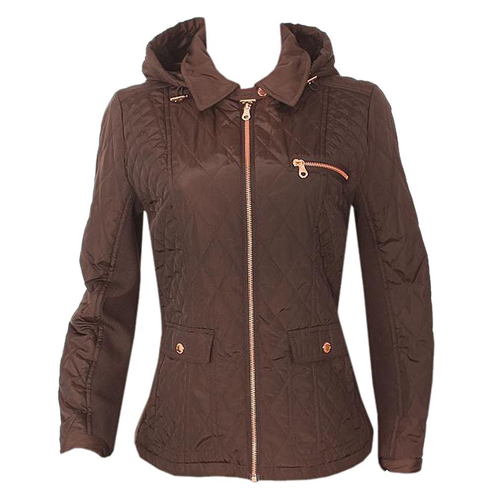Coffee L Sleeve Ladies Winter Jacket Wt Hood Uk 20 L 26