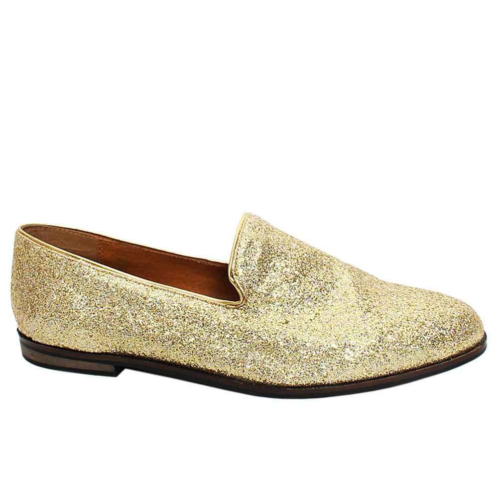 Gold Rufus Glitz Leather Men Penny Loafers