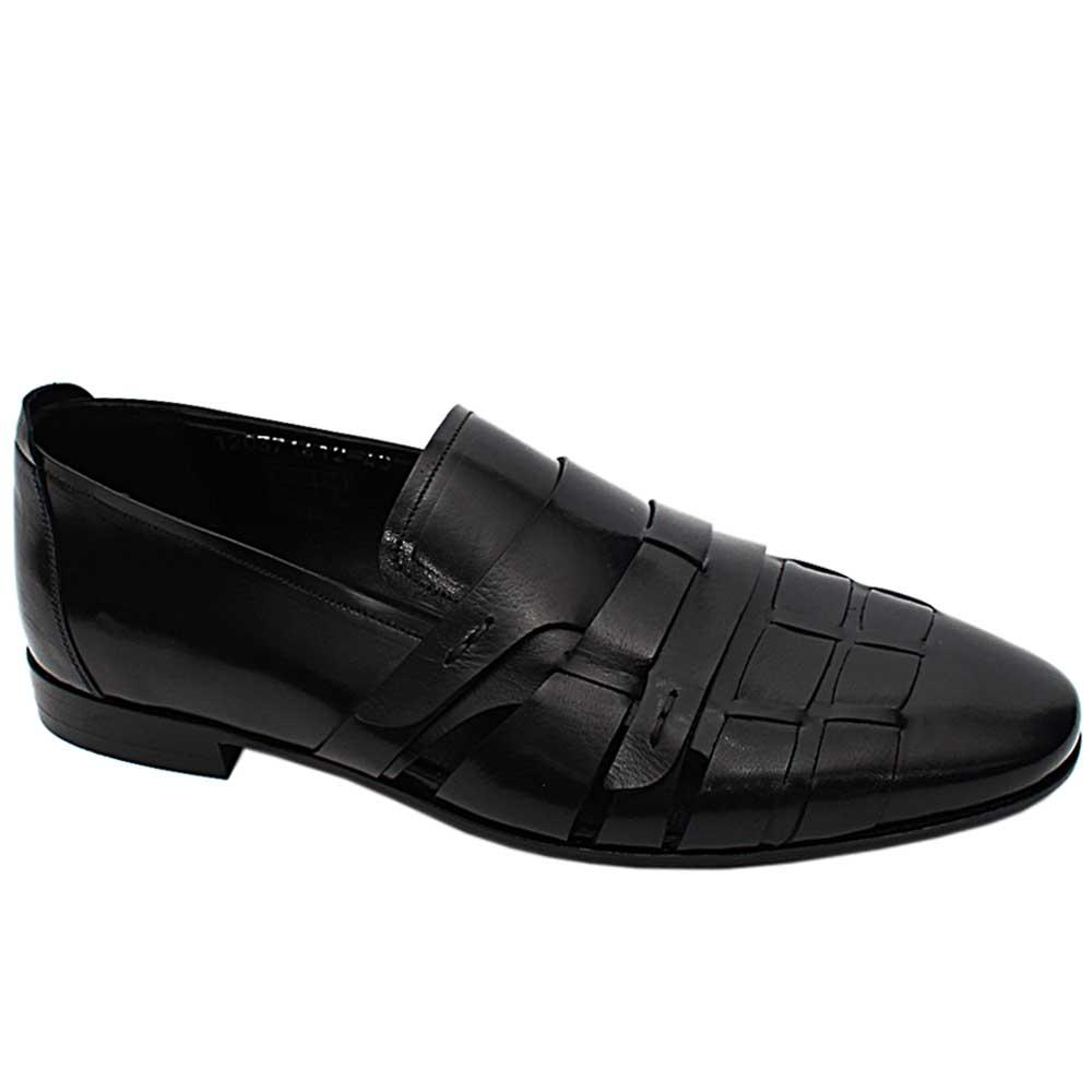 Black Lambert Italian Leather Men Cut-Out Pattern Loafers