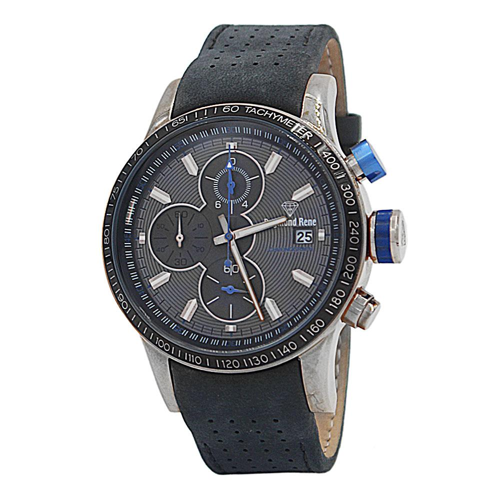 DR 5ATM Gray Silver Leather Chronograph Watch