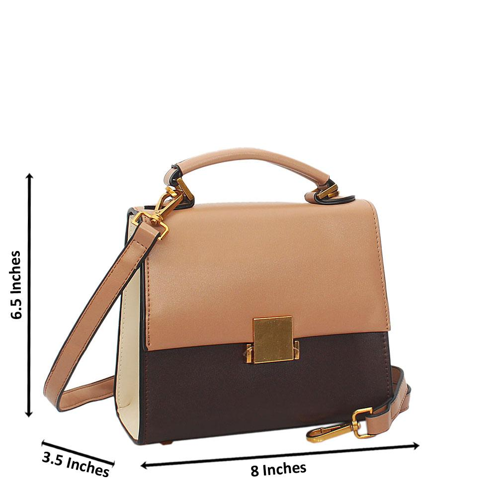 Brown Mix Barbie Leather Mini Top Handle Handbag