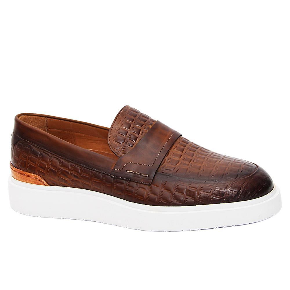 Brown Castaneda Italian Leather Slip-On Sneakers
