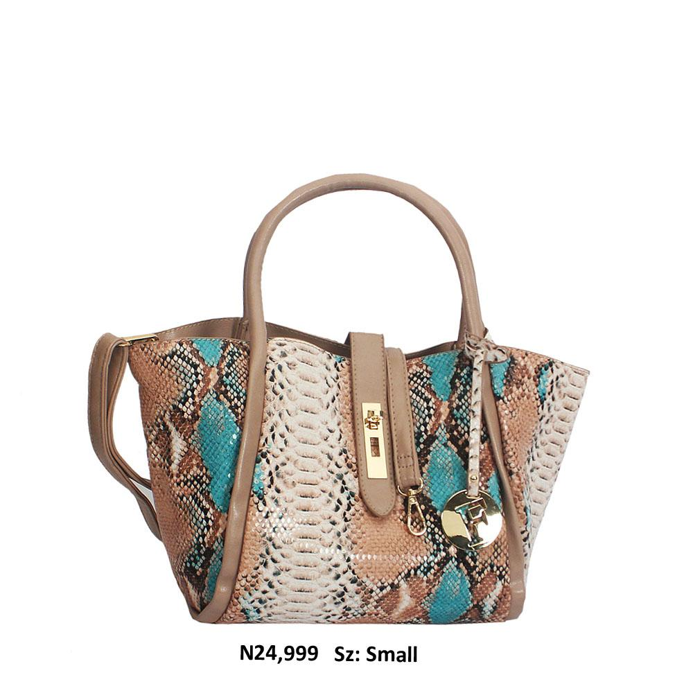 Khaki Mix Snake Skin Style Leather Tote Handbag