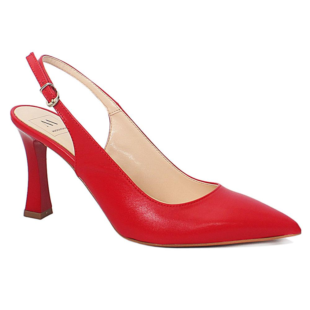 Red Leather Heel Half Shoes