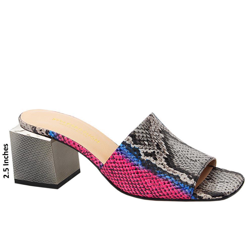 Gray Pink Mix Elise Tuscany Leather Mid Heel Mule