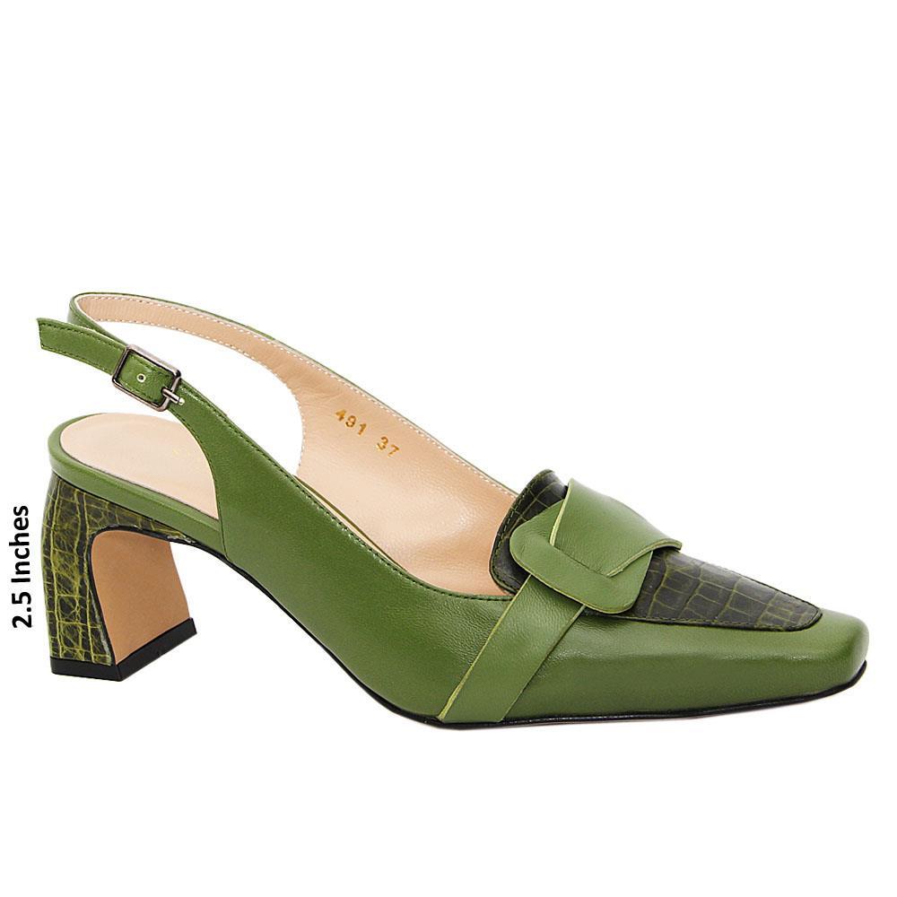 Dark Green Melissa Tuscany Leather Mid Heel Slingback Pumps