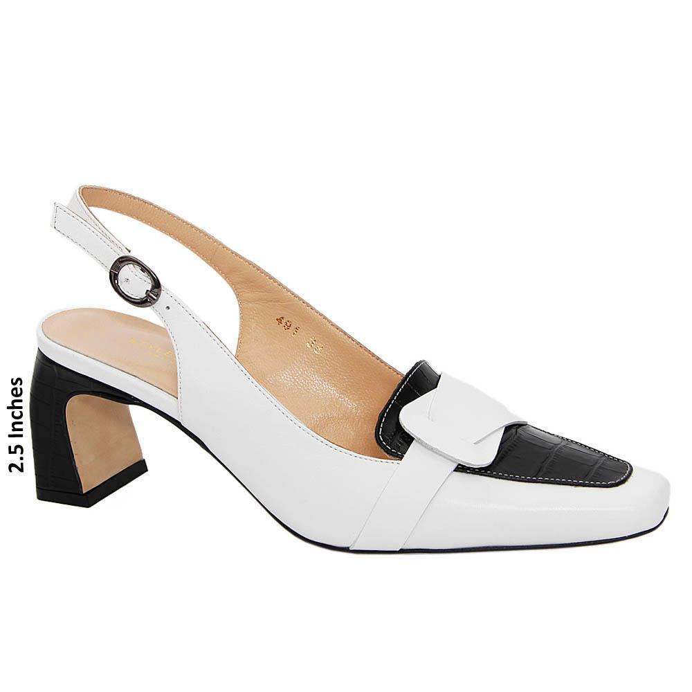 White Black Melissa Tuscany Leather Mid Heel Slingback Pump
