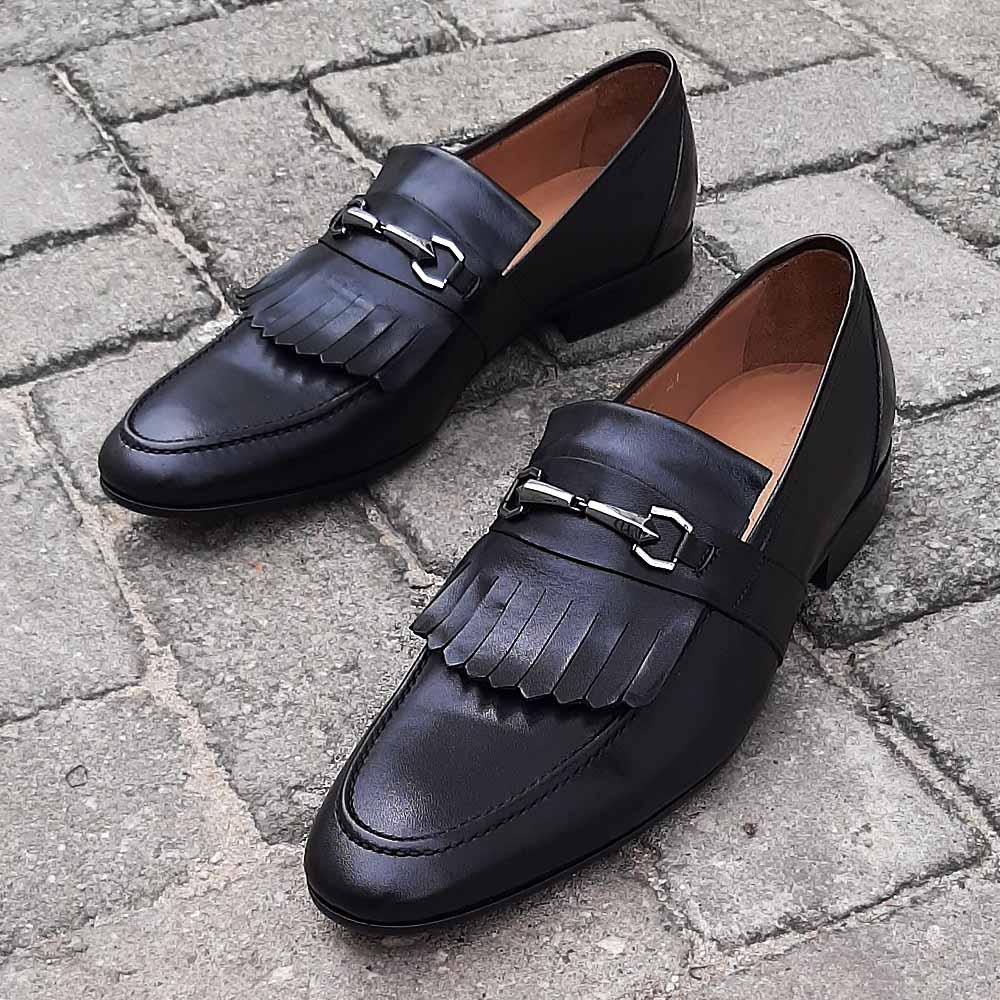 Black Fabrizio Italian Leather Men Fringe Loafers