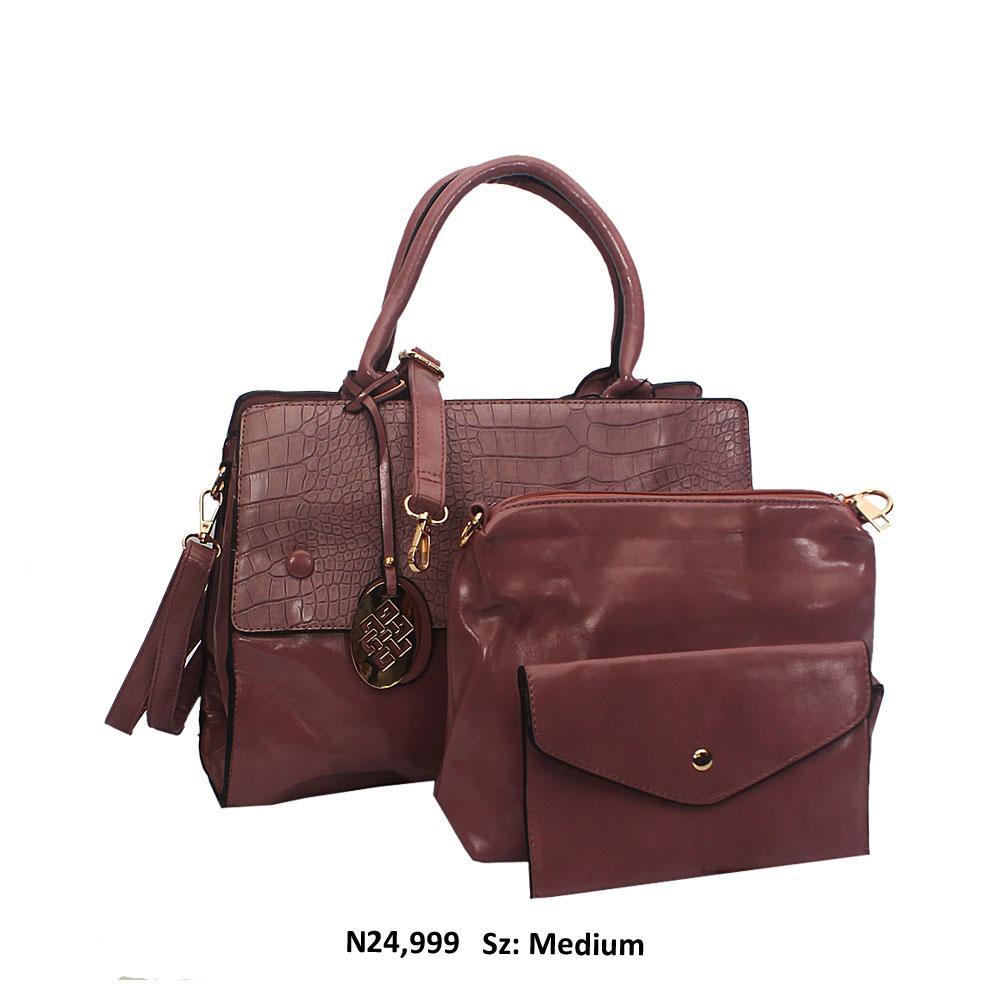 Lilac Croc Style Leather Tote Handbag
