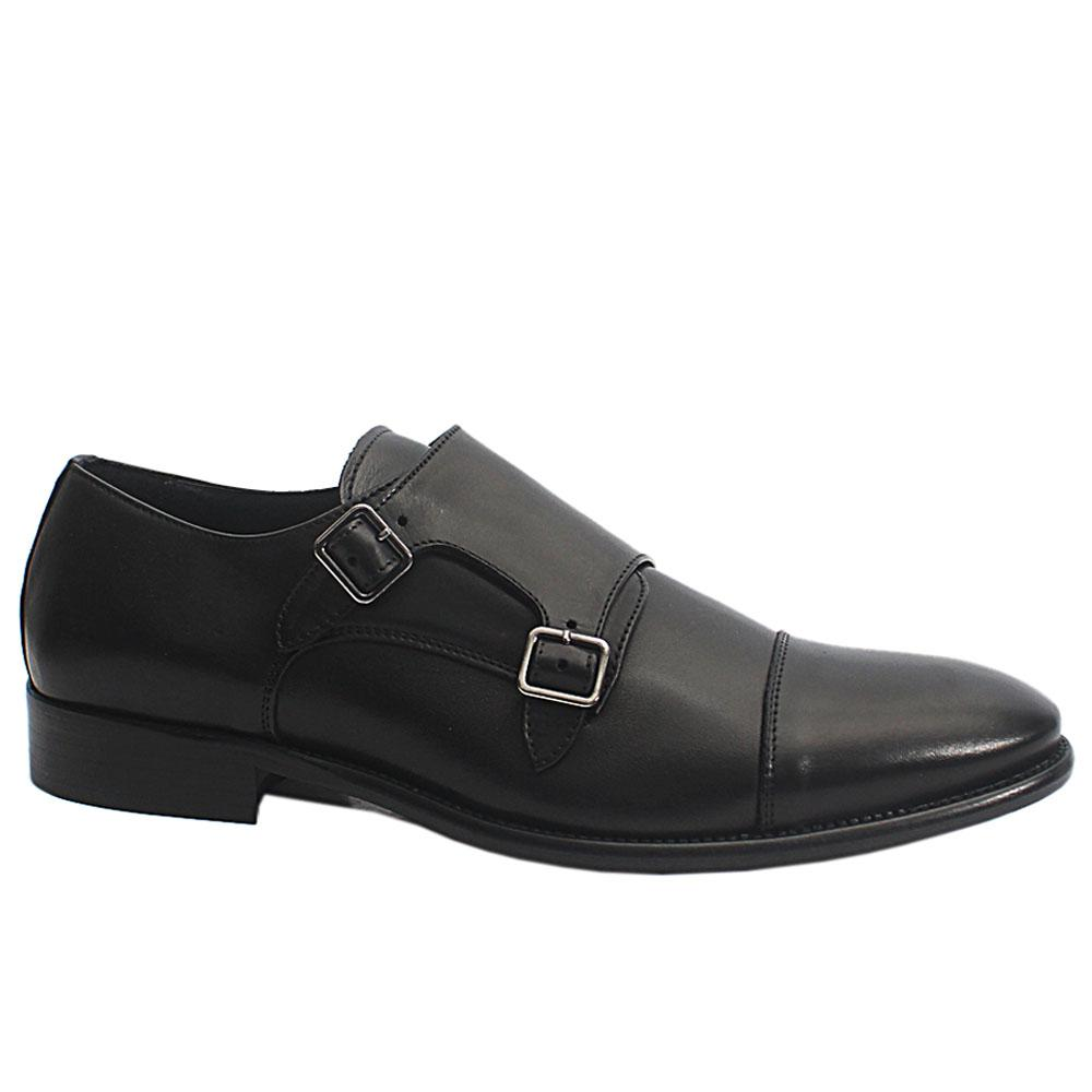 Black Dejavu Italia Leather Men Monk Strap Shoes