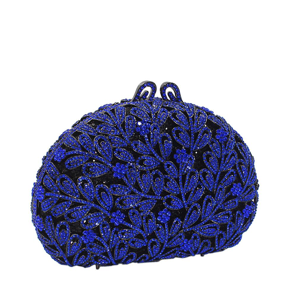 Blue Flora Diamante Crystals Clutch Purse