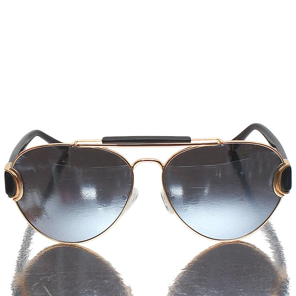 Gold Black Aviator Metallic Polarized Lens Sunglasses