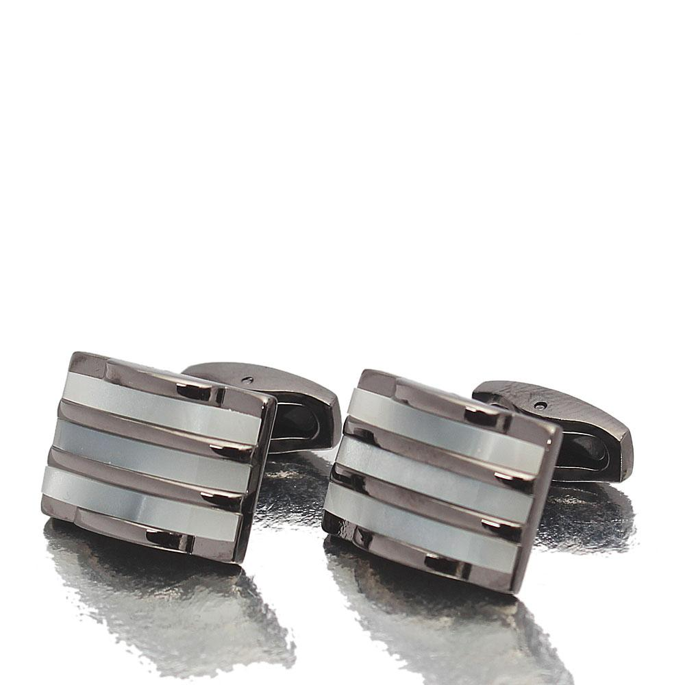 Etched Pearl Black Stainless Steel Cufflinks