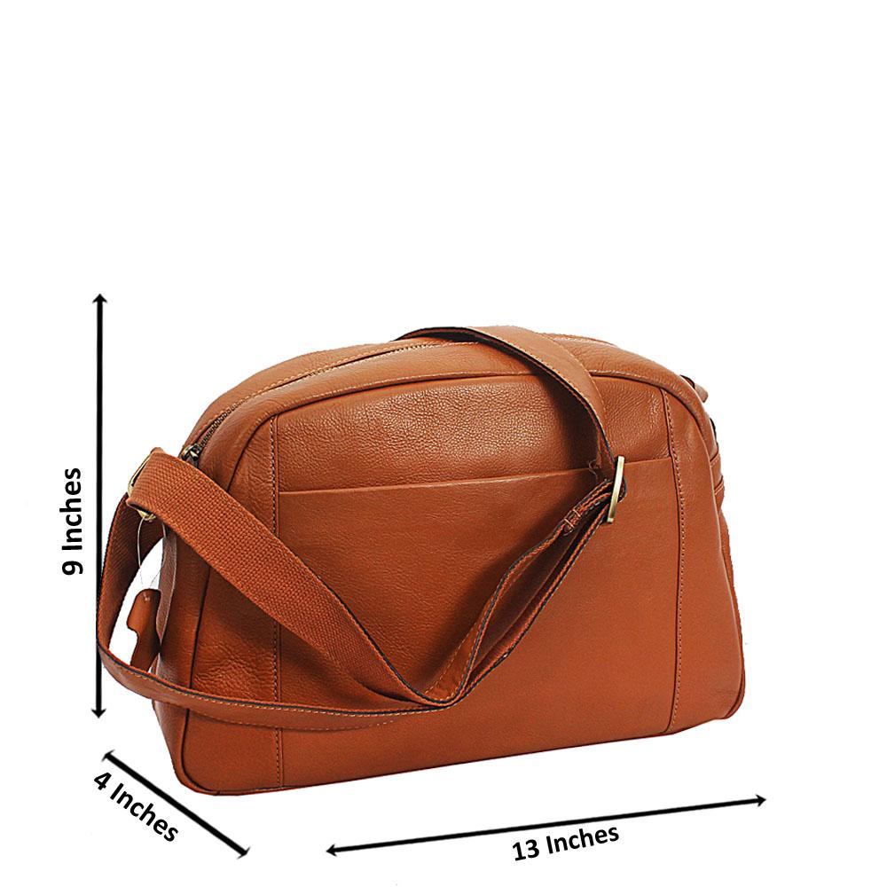 Light Brown Vintage Side Crossbody Leather Man Bag