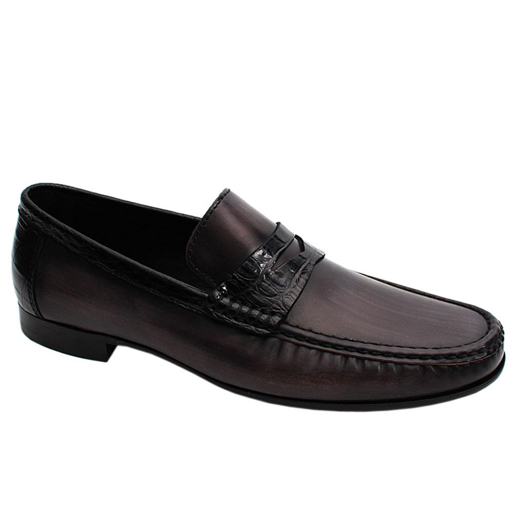Black Alcobe Mix Italian Leather Men Loafers