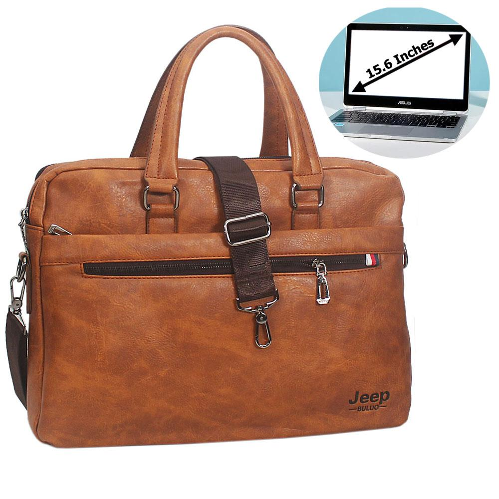 Brown Fernando Leather Double Zipper Briefcase