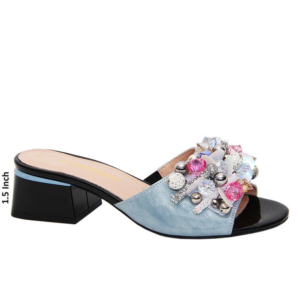 Sky Blue Jewel Patent Tuscany Leather Mid Heel Mule