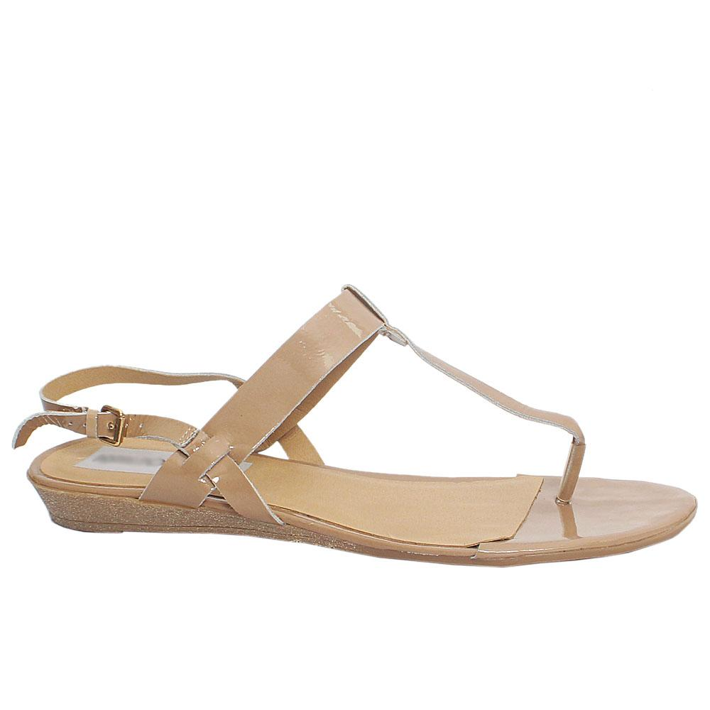 Beige Leather Flat Sandals
