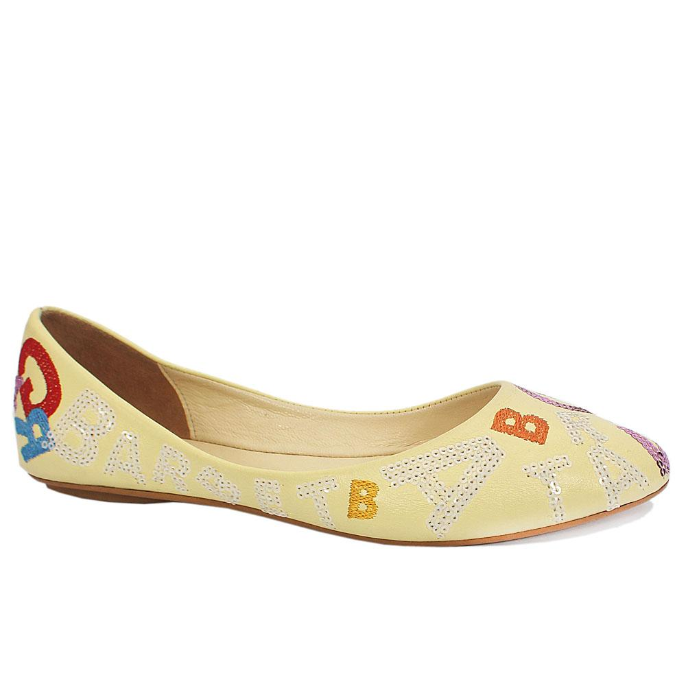 Yellow Paisley Embossed Flat Shoes