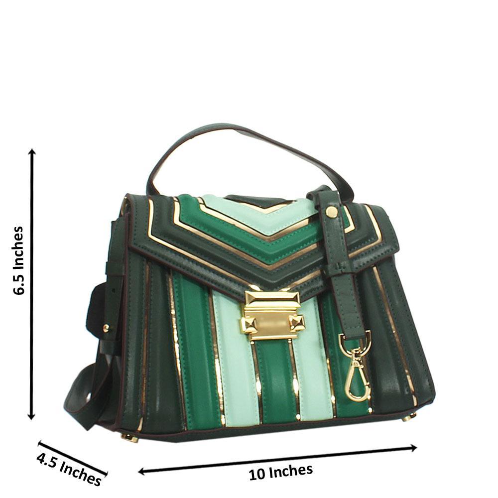 Dorah Green Cowhide Leather Mini Top Handle Handbag