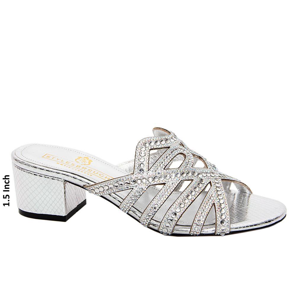 Silver Keyla Studded Italian Leather Mid Heel Mule
