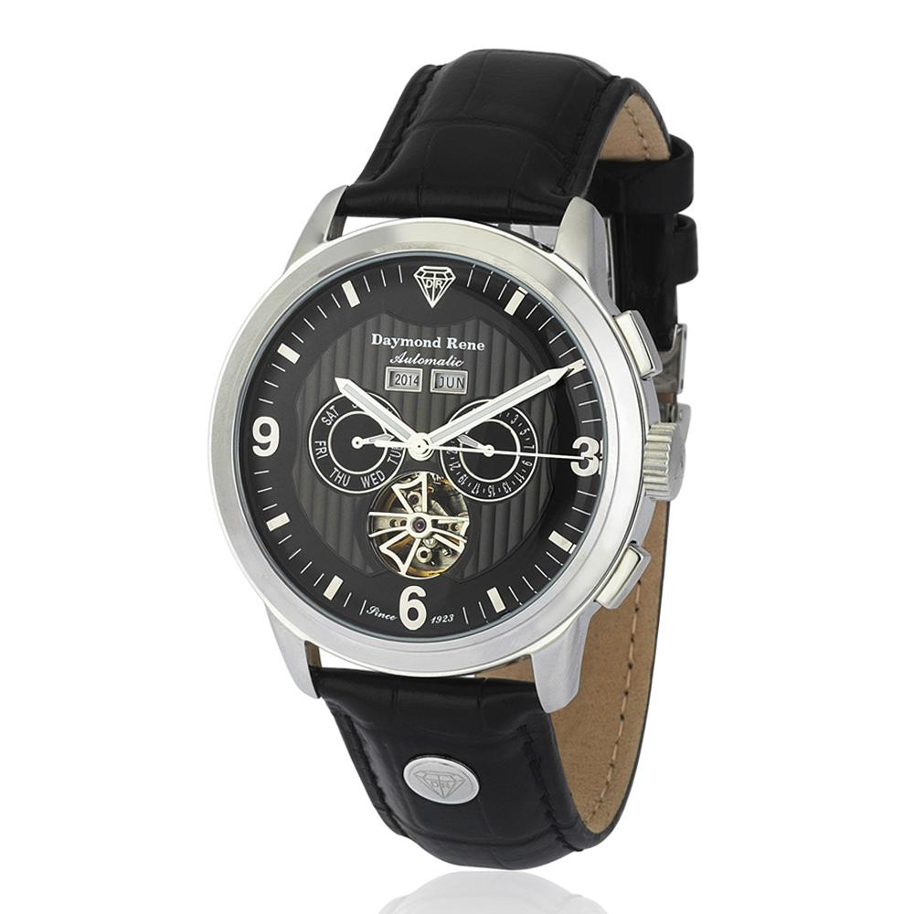 DR 3ATM Black Silver Leather Automatic Watch
