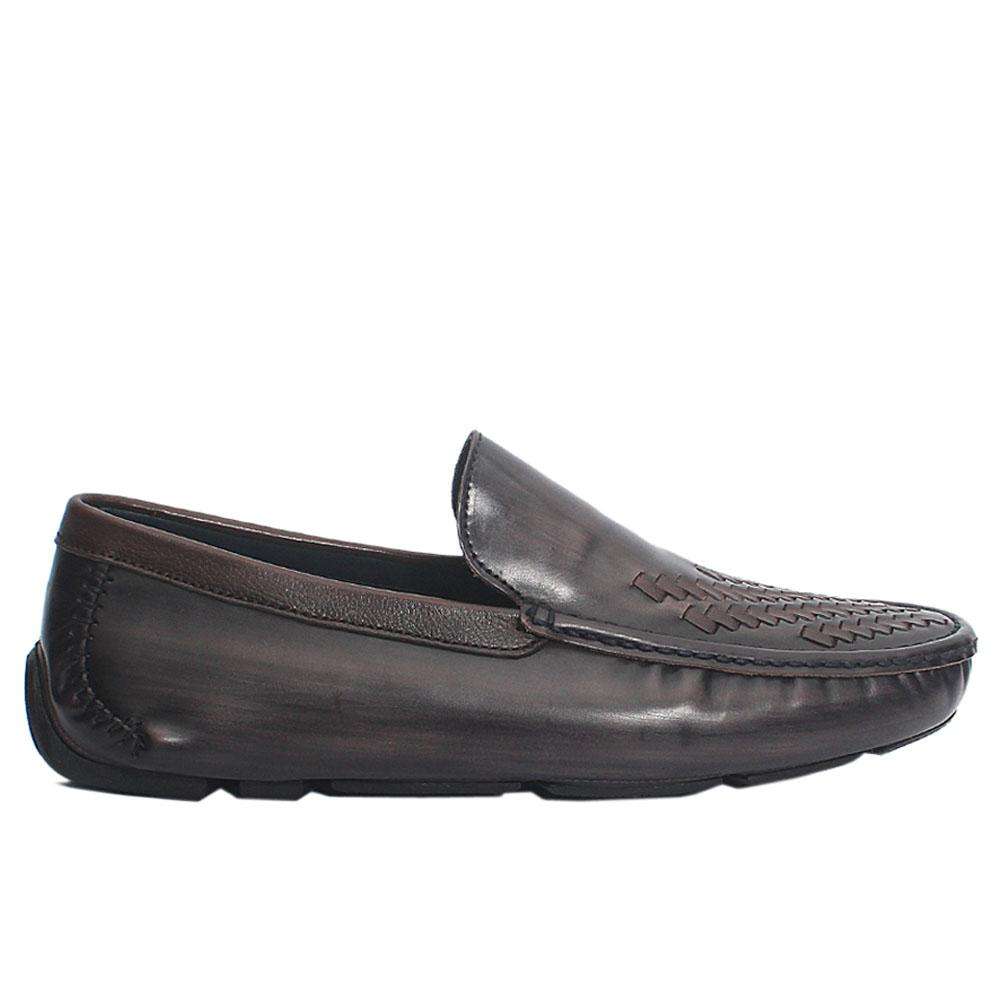 Gray Kahve Woven Style Italian Leather Loafers