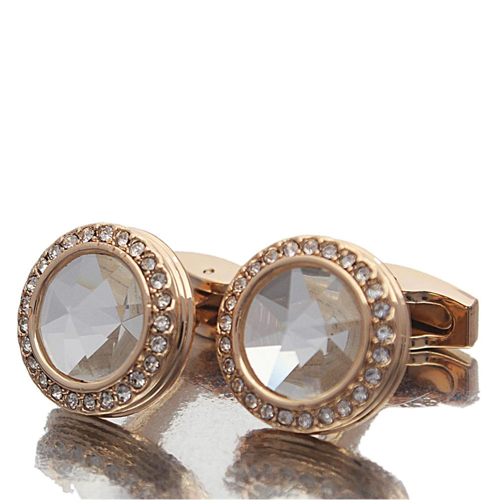 Gold White Pearl Studded Stainless Steel Cufflinks