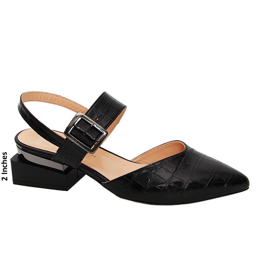 Black Miriam Tuscany Leather Mid Heel Slingback Pump