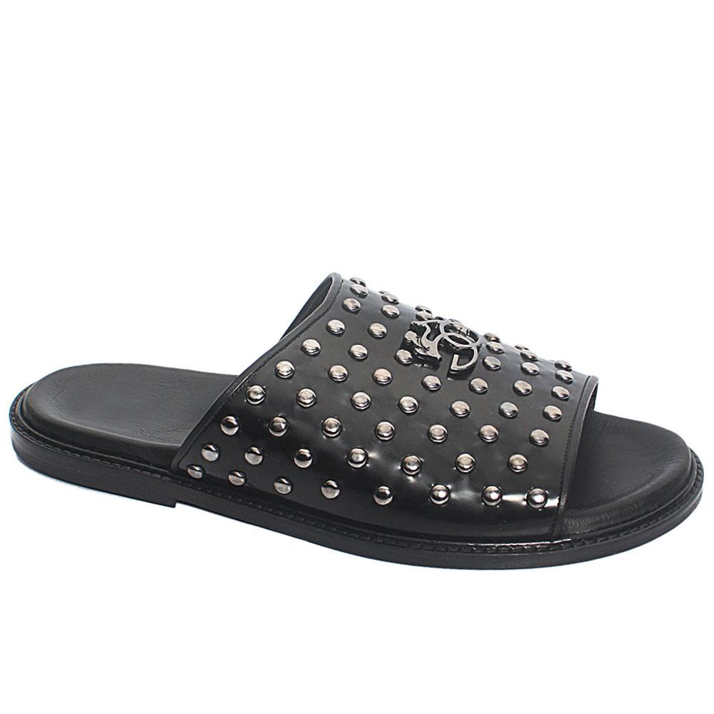 Black Studded Leather Upper and Sole Men Slippers