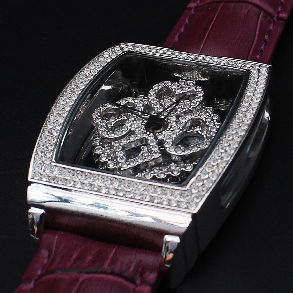 Alois Davinchi Crystals Purple Leather Squared Skeletal Spinner Watch