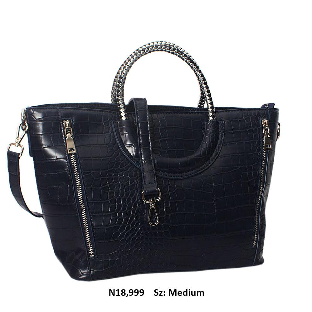 Navy Megan Croc Leather Woven Handle Tote Handbag