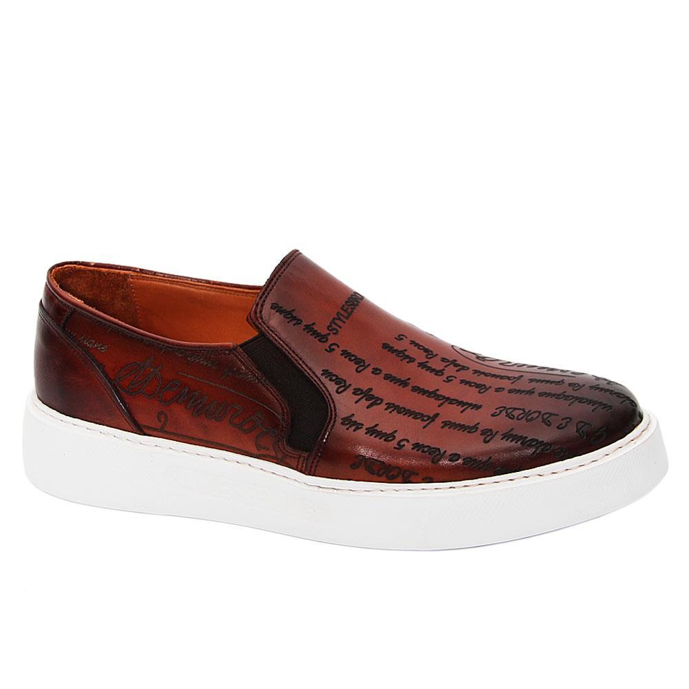 Brown Julio Caesar Italian Leather Slip-On Sneakers