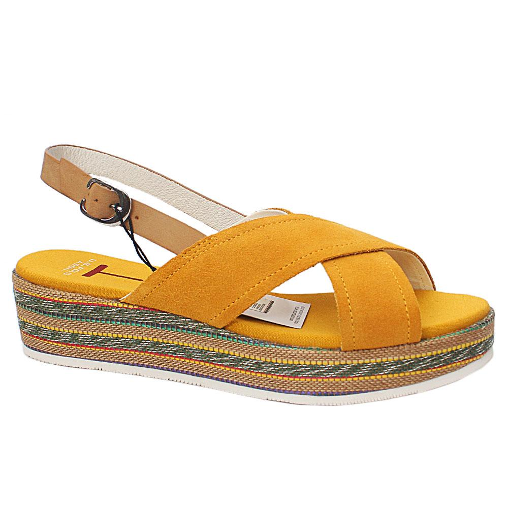 USSPA Yellow Radinka Leather Wedge Sandals