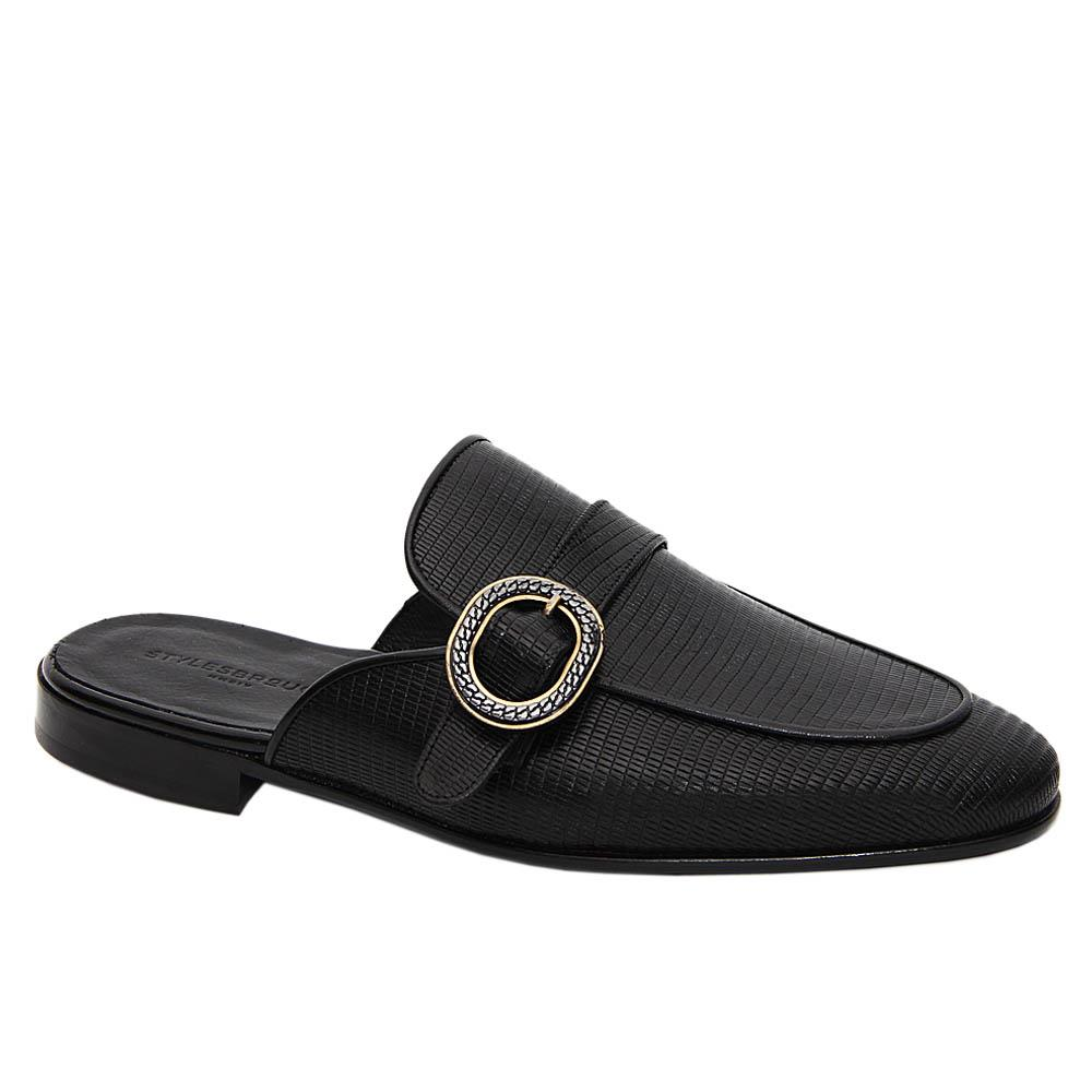 Black Conan Italian Leather Half Shoe
