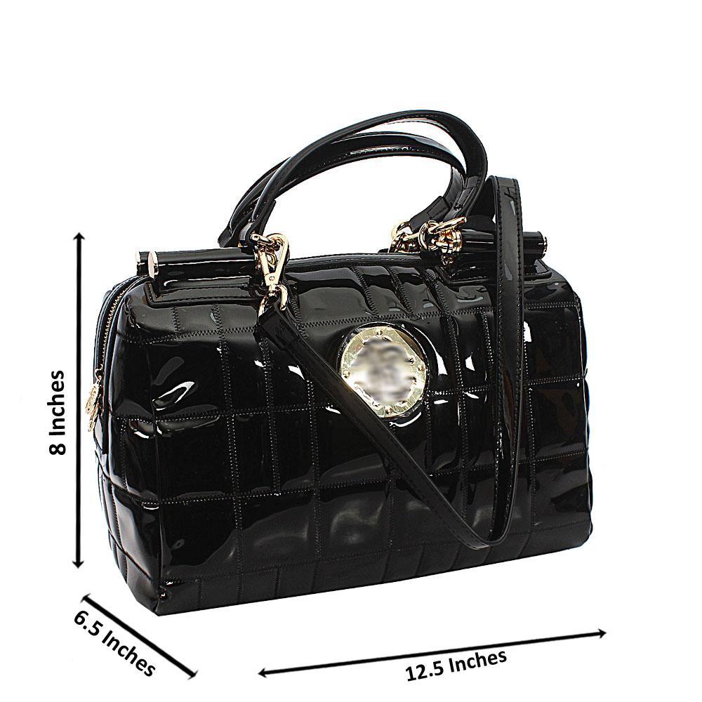 Black Curve Patterned Patent Saffiano Leather Handbag