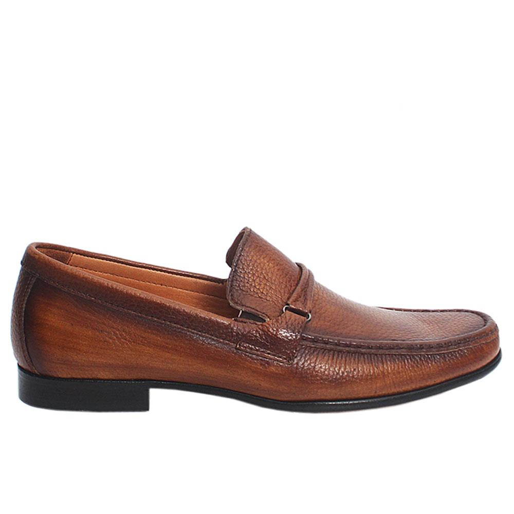 Brown johnny Italian leather loafers