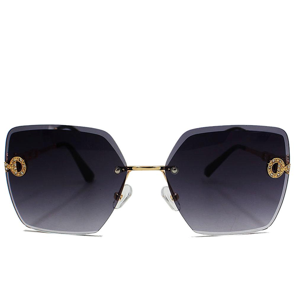 Gold Black Pentagon Face Sunglasses