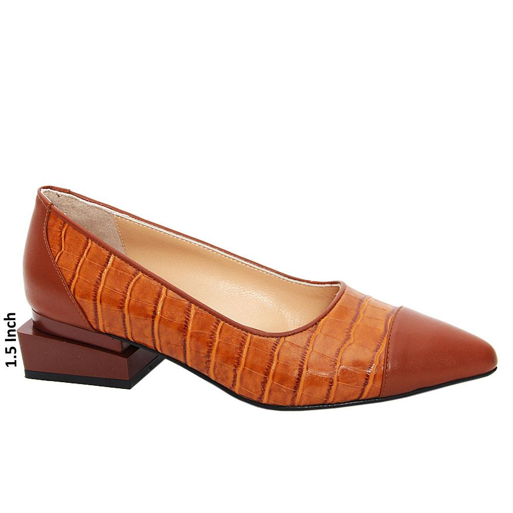 Brown Isotta Tuscany Leather Low Heel Pumps
