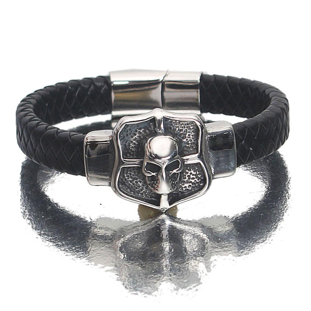 Silver Black Knight Leather Bracelet