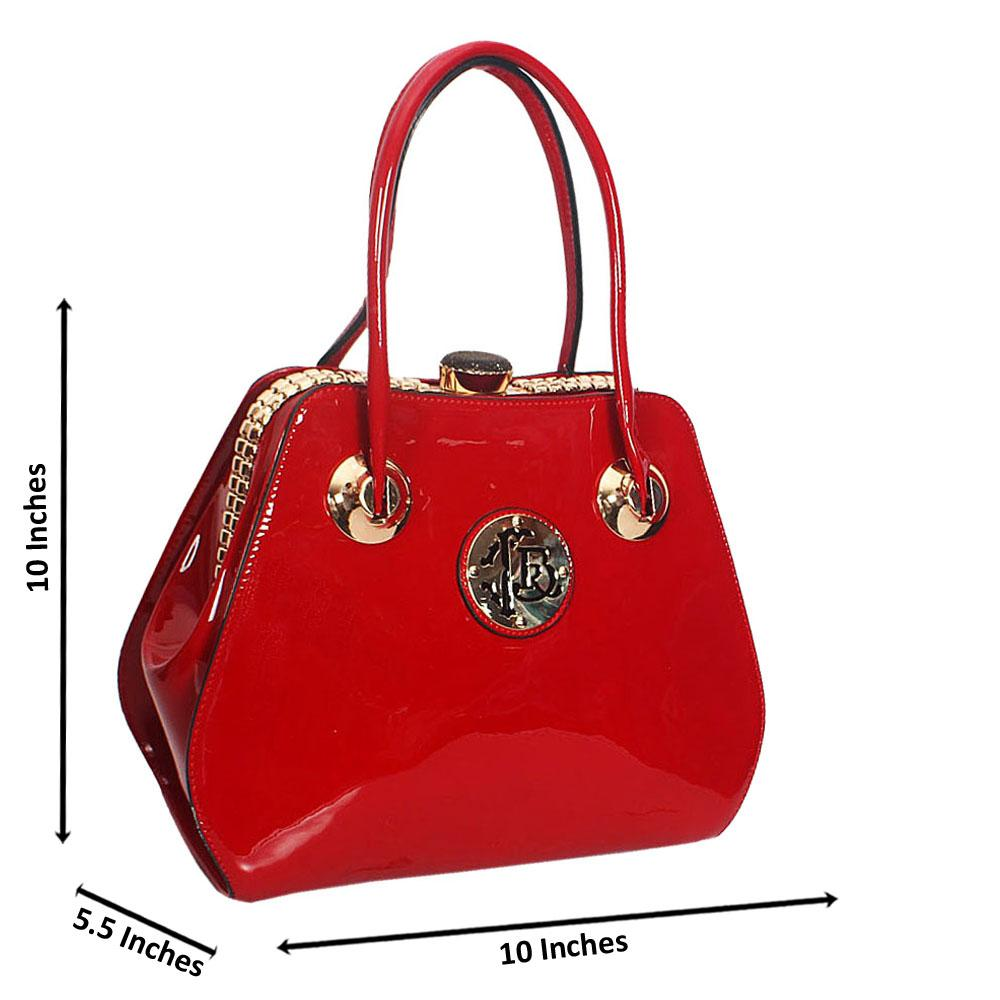 Jenna Red Patent Leather Tote Handbag