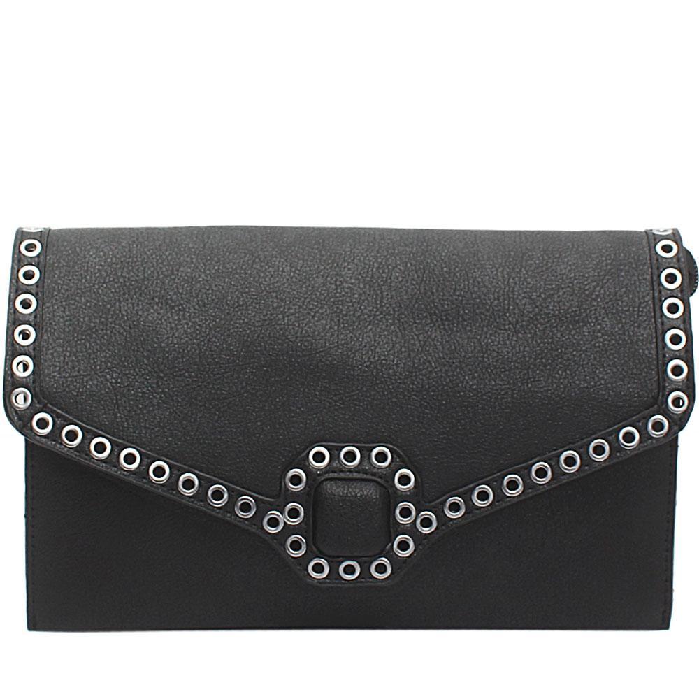 Black Leather Flat Purse