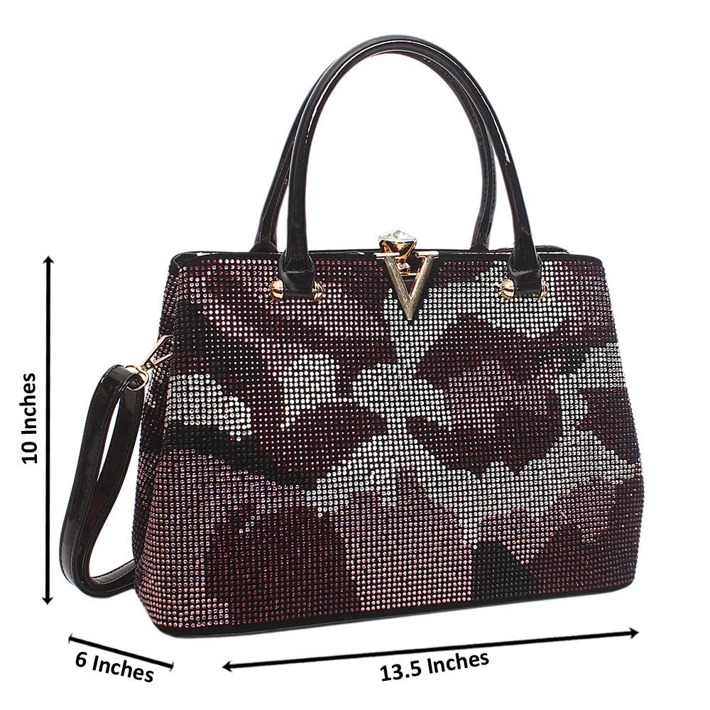 Black Purple Mix Belinda Studs Suede Leather Tote Handbag