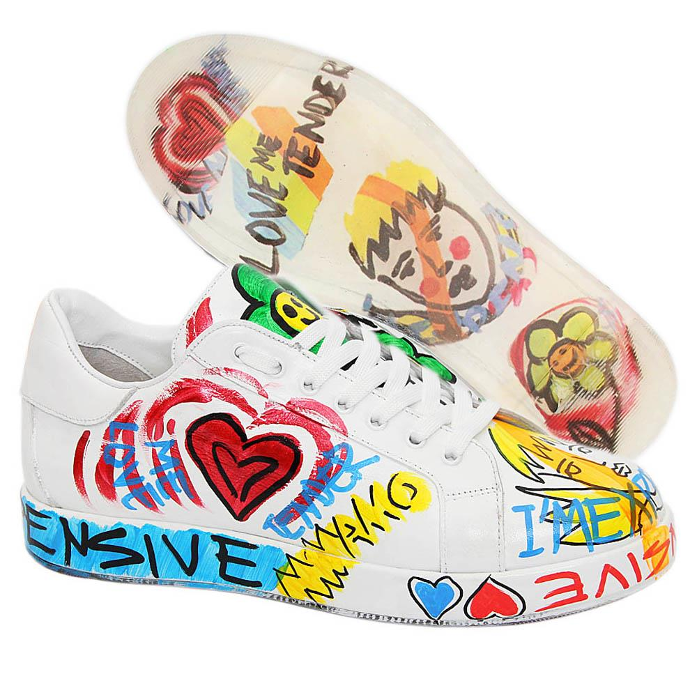 White Shawn Graphic Print Italian Leather Unisex Sneakers
