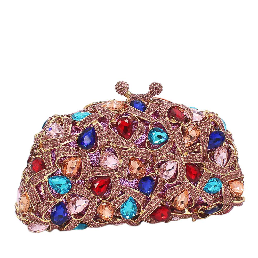 Multicolored Pearl Embellished Diamante Crystals Clutch Purse