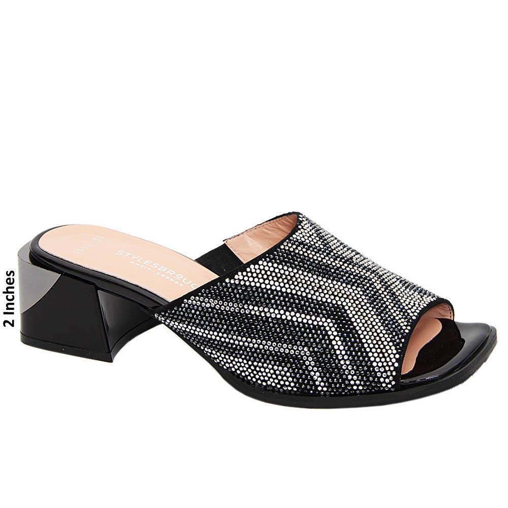 Black Rosa Studded Tuscany Leather Mid Heel Mule