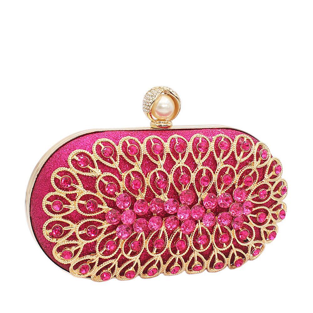 Pink Davis Stone Shimmering Clutch Purse