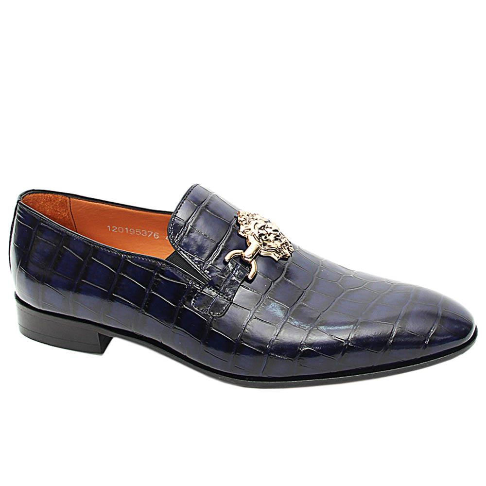 Navy Bernardo Croc Italian Leather Horsebit Loafers