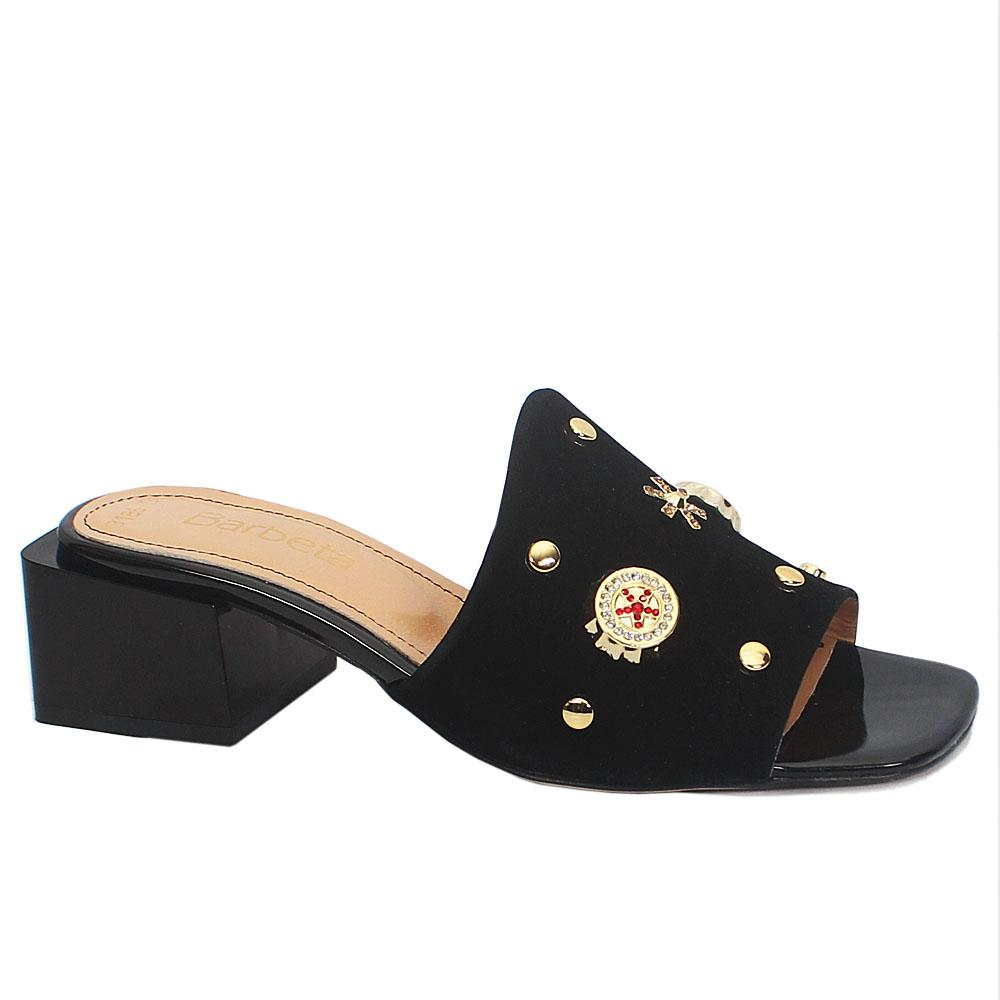 Black Plaza Embellished Suede Leather Mule Slippers