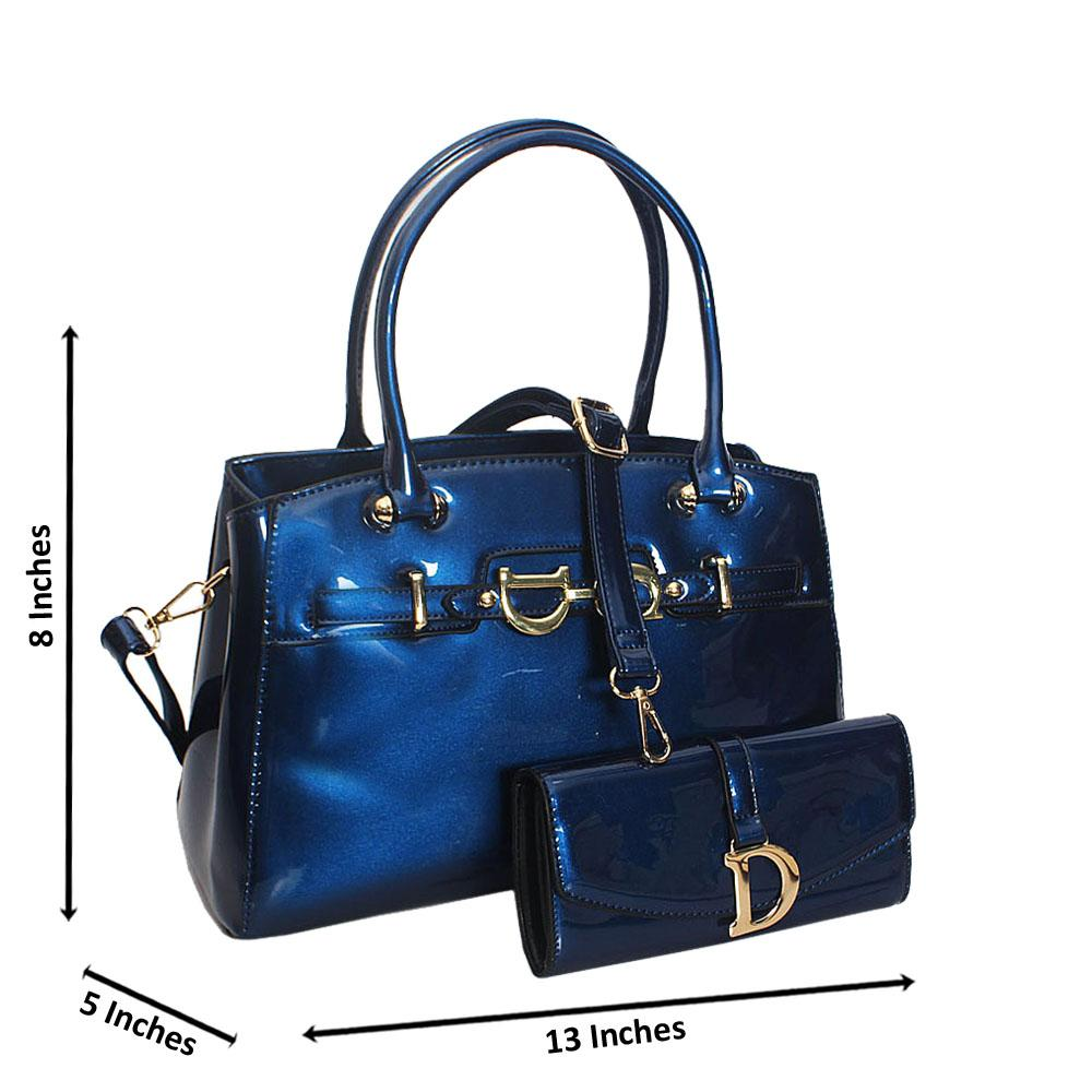 Callie Blue Patent Leather Tote Handbag Wt Purse